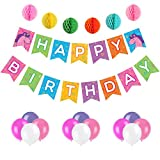 chuckie cheese - Unicorn Happy Birthday Banner - Premium Party Supplies Multi-Colored Rainbow Pennant with Letters - Party Decorations with 6 Pom Pom Balls and 12 Balloons - Premium Quality, Ideal for Unicorn Party