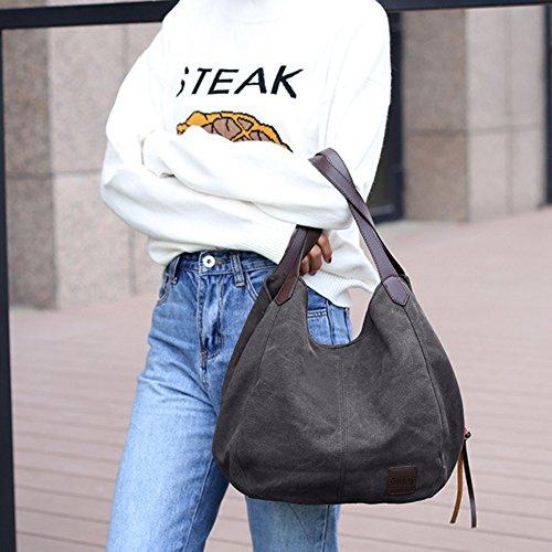 GINDOLY Bag Bag Tote Bag Shoulder Canvas Bucket Shopper Lady Handbag Black Hobo Fashion Small vcwqpxvRr7