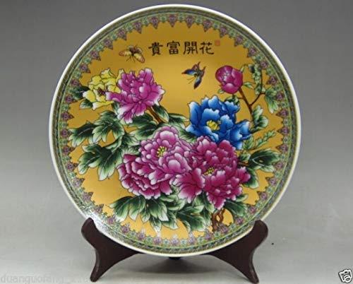 ZAMTAC TNUKK Beautiful Decorative Chinese Hand Painting Famille Rose Porcelain Plate Flowers Blossoming