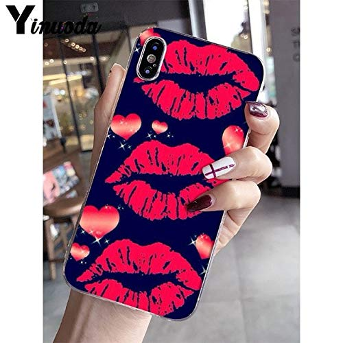 (MISC Black Red Heart Kiss iPhone 6 Case Cute Sexy Lips Kisses 6S Cover Love Heart Stars Hot Girl Kiss iPhone 6/6S Case for Boys Girls Couple Fashion Cool Shockproof Slim Soft, TPU)