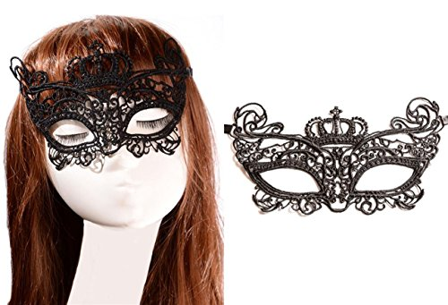 Adeleways Luxury Lace Sexy Mask - Venetian Masquerade Lace Eyemask Eye Mask for Halloween Masquerade Party Costume Mask Masquerade For Women and Girls Set of 2 PCS (Venetian Eye Mask)