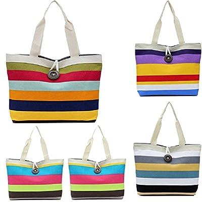 Perman Fashion Ladies Colored Stripes Shopping Wristlet Shoulder Handbag Canvas Bag Tote Purse