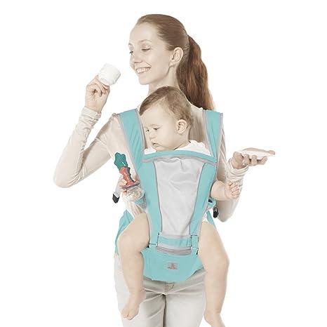 JooBebe Hipseat Baby Carrier Mochila Portabebes 6 en 1 Diseño Clásico para el Verano (Azul