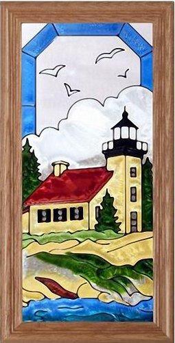 Copper Harbor, Michigan LIGHTHOUSE Suncatcher Window 11x22 Glass Panel Framed