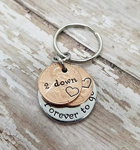 2 Years Down and Forever To Go 2nd Anniversary Key Chain Gift with Two  Pennies