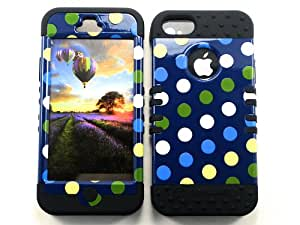 For Apple Iphone 5 Heavy Duty Case + Black Rubber Skin Accessories