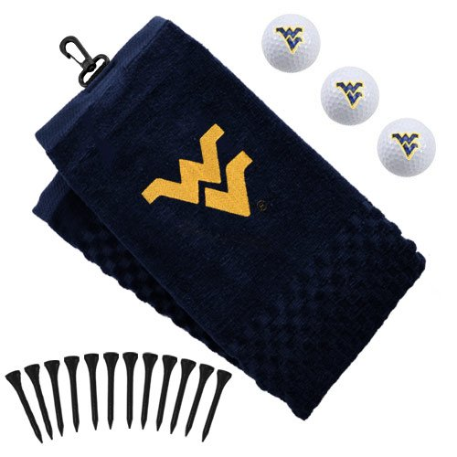 Team Golf NCAA West Virginia Mountaineers Gift Set Embroidered Golf Towel, 3 Golf Balls, and 14 Golf Tees 2-3/4