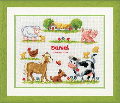 Vervaco Birth Record Farm Animals Cross Stitch Kit
