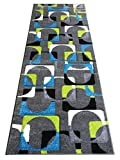 Cheap Modern Runner Area Rug Design ST 609 Charcoal (32 Inch X 7 Feet)