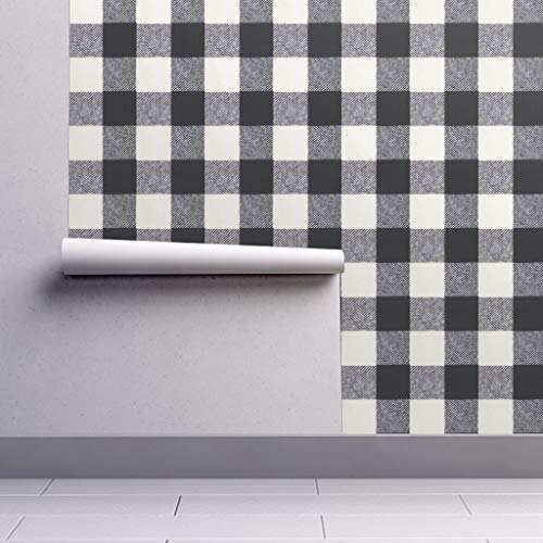 Peel-and-Stick Removable Wallpaper - Cream and Black Buffalo Check Plaid Buffalo Check Black and White by Willowlanetextiles - 24in x 144in Woven Textured Peel-and-Stick Removable Wallpaper Roll