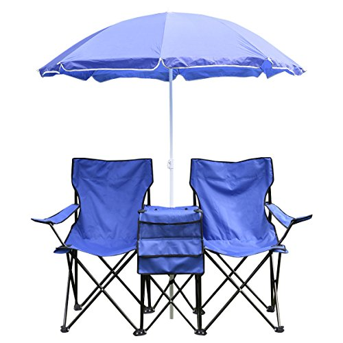 Price comparison product image Goplus® Portable Folding Picnic Double Chair W / umbrella Table Cooler Beach Camping Chair