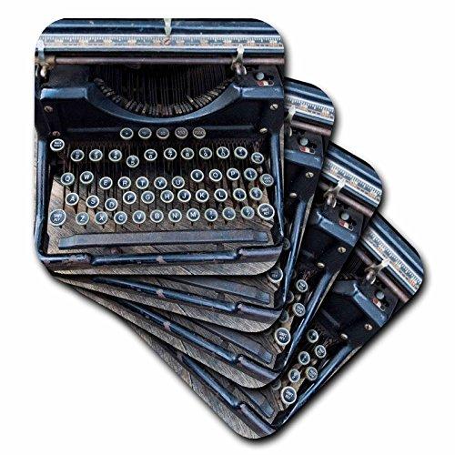 3dRose cst_259791_3 Vintage type writer, Brooklyn, New York, Usa Williamsburg set of 4 Ceramic Tile Coasters