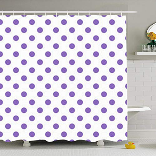 - HomeOutlet Shower Curtains Bathroom 72 x 72 Inches Purple Polka Dot Vintage Pattern Abstract Simple Waterproof Polyester Fabric Home Decor Bath Set with Hooks