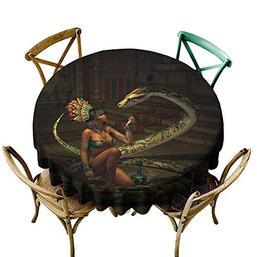 cobeDecor Fantasy Elegant Waterproof Spillproof Polyester Fabric Table Cover Mystery Dark Skin Girl with Headdress Eye to Eye with Huge Snake D36 Green Brown Emerald Cinnamon ()