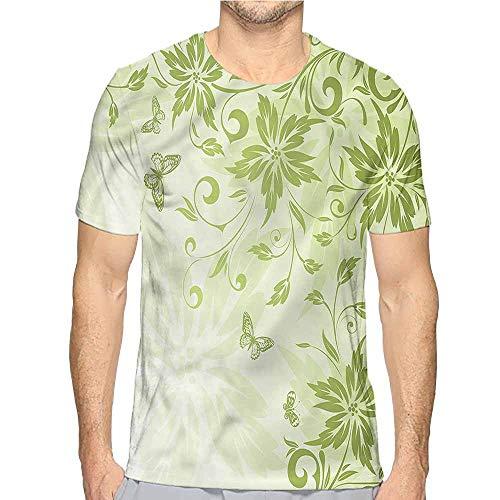 Jinguizi Mens t Shirt Green,Butterflies Foliage Framework HD Print t Shirt S ()