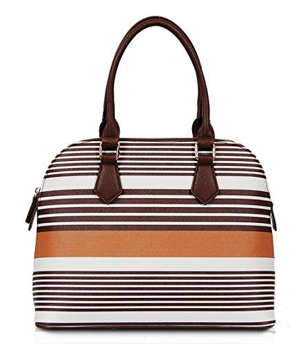 Mel Striped Satchel (brown) Sp1069br
