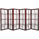 Oriental Furniture 4 ft. Tall Eudes Shoji Screen - Rosewood - 6 Panels