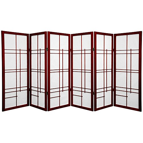 Oriental Furniture 4 ft. Tall Eudes Shoji Screen - Rosewood - 6 Panels