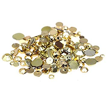 Nizi Jewelry Gold Plated Color Round Flatback Acrylic Rhinestones Shiny Stones Nail Decals (1.5mm 1g About 1000pcs)