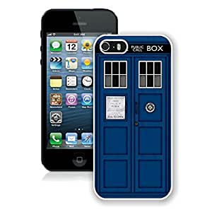 Unique And Antiskid Designed Cover Case For iPhone 5S With Doctor Who Tardis White Phone Case