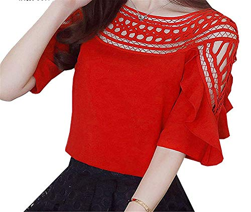 Fashion Style Women Chiffon Blouse Hollow Out Off Shoulder Blusas Femme Slash Neck Ruffled Sleeve Tops,La