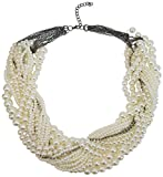 MeliMe Women's Multi-Strand Twisted Faux Pearl Chunky Necklace White 02 Deal (Small Image)