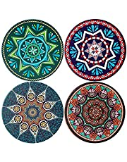 JFTOU Coasters, Coasters for Drinks, Ceramic Stone with Cork Back, Set of 4 Drink Coasters with Pretty Mandala Patterns, 4.3 inch Round Cup Mats, Heat-Resistant Coasters, Great Gift Sets