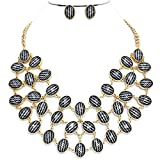 Oval Chevron Cabachon Statement Necklace Set Gold Fashion (#137)