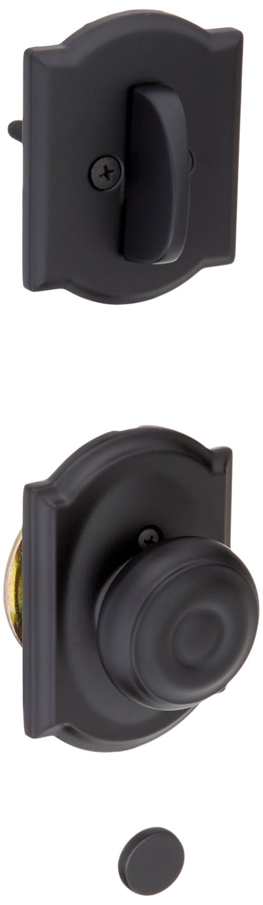 Schalge F94GEO622CAM Matte Black Interior Pack Georgian Knob Dummy Interior Pack with Deadbolt Cover Plate and Decorative Camelot Rose by Schalge