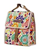 vegan lunch box - Lily Bloom Foldover Insulated Lunch Box / Portable Cooler Bag for Women (Tulips and Tweets)