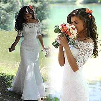 SIQINZHENG Mermaid Off The Shoulder Lace Wedding Dresses Lace Up Half Sleeve Bridal Gowns for Women