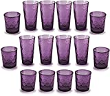 Circleware 44806 Circles Plum Huge Set of 16 Drinking 17 oz. and 8-13 oz. Double Old Fashioned Whiskey Juice Water Beer Beverage Glass, 16pc Set