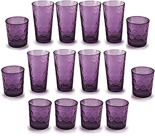 Circleware 44806 Circles Plum Huge Set of 16 Drinking 17 oz. and 8-13 oz. Double Old Fashioned Whiskey Juice Water Beer Beverage Glass, 16pc Set by Circleware
