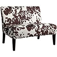 Home Creek Lorell Cowhide Print Armless Loveseat