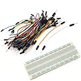 LANMU 830 Tie Points Solderless PCB Breadboard Mb102+65pcs Jumper Cable Wires for Arduino