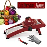 #3: LinDream Home Adjustable Mandoline Slicer - Stainless Steel Built-in Japanese Blades - Multifunctional Fruit Vegetable Cutter - Handheld Cheese Grater Food Shredder - Professional Portable Kitchen Aid