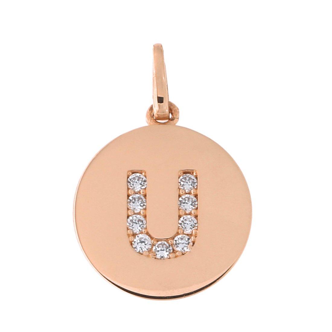 14k Rose Gold Cubic Zirconia Initial Disc Pendant Necklace
