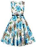 ephex Toddler Girls Vintage Print Floral Swing Pageant Blue Dress 6T
