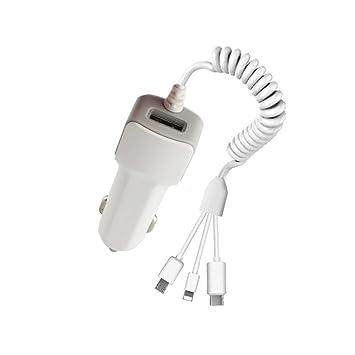 Wallfire - Cargador de Coche rápido con Cable USB 3 en 1 ...