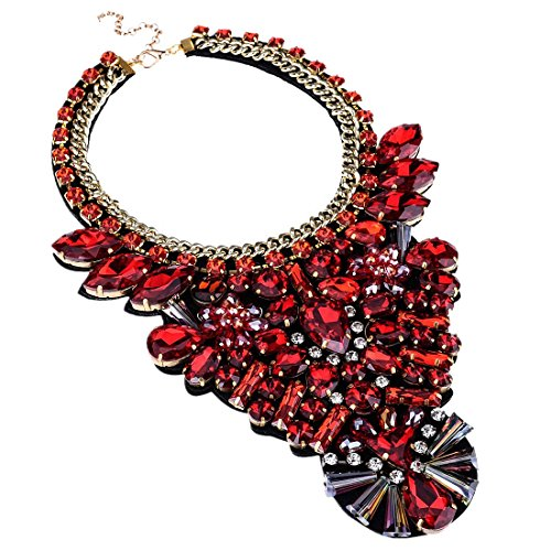 Red Statement Necklace Large Costume Jewelry Fashion Large Costume Jewelry 1 PC with Holylove Gift Box - Big Costumes Jewelry Necklaces