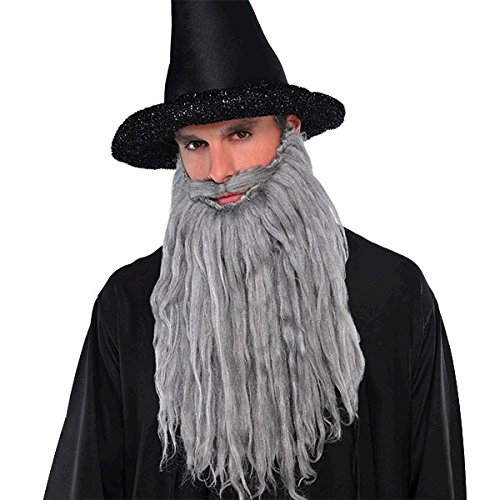 Wacky Facial Hair Gray Plush Beard/Moustache Costume Accessory, Self Adhesive, 1 piece ()