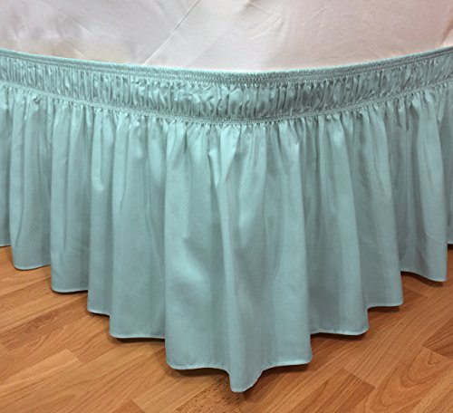 Elegant Elastic Ruffle Bed Skirt Easy Warp Around King/Queen Size Bed Skirt Pins Included, (Turquoises) (Turquoise Bed Skirt King)