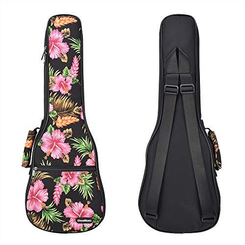 CLOUDMUSIC Ukulele Case Backpack Hawaiian Hibiscus Black (Tenor)