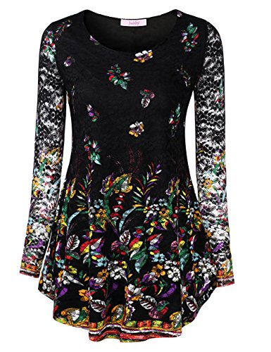 Women, Ladies Floral Printed Blouse O-Neck Formal Athletic Stretchy Fabric Travel Clothes Knitted Pullover Jerseys Sweatshirts X-Large Black_1 ()
