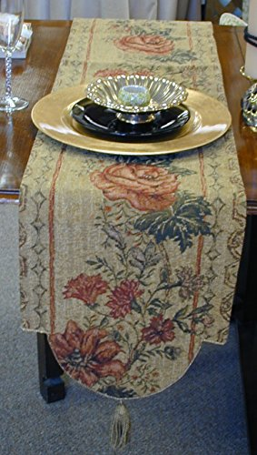 Corona Decor Italian Floral Woven Table Runner by Corona Decor Co.