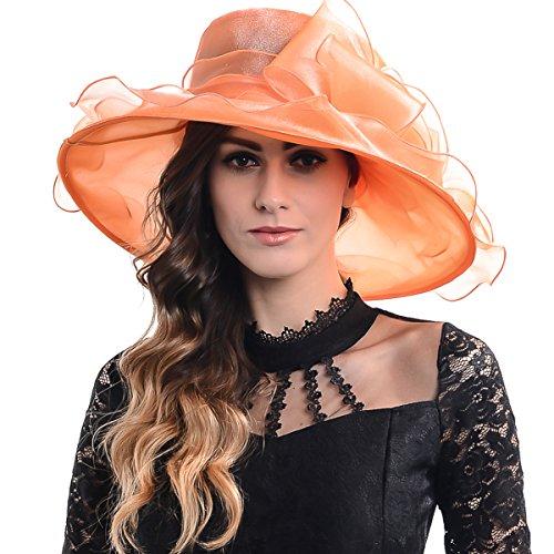 Women Kentucky Derby Church Dress Organza Hat Wide Brim Flat Hat (8 Colours) (S060-orange)