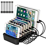 NEXGADGET USB Charging Station Dock for Multiple Devices 8-Port Charging Stand for Smartphone,Tablet and other USB Devices(8 Cables Included)