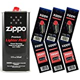 Zippo Gift Set - 12 Fl.oz Fluid Fuel and 3 Wick Card & 3 Flint Card (18 Flints)