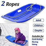 KALUOLA Snow Sleds Toboggans, Sledges & Toboggans Heavy Duty Sledge Toboggan Sleigh Sled 2 Rope Plastic Unisex Kids Adults Ski Fun Board - Blue