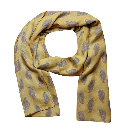 Yellow Feather Light (Women Scarf Feathers Print Design Lightweight Scarves for Lady (Mustard))
